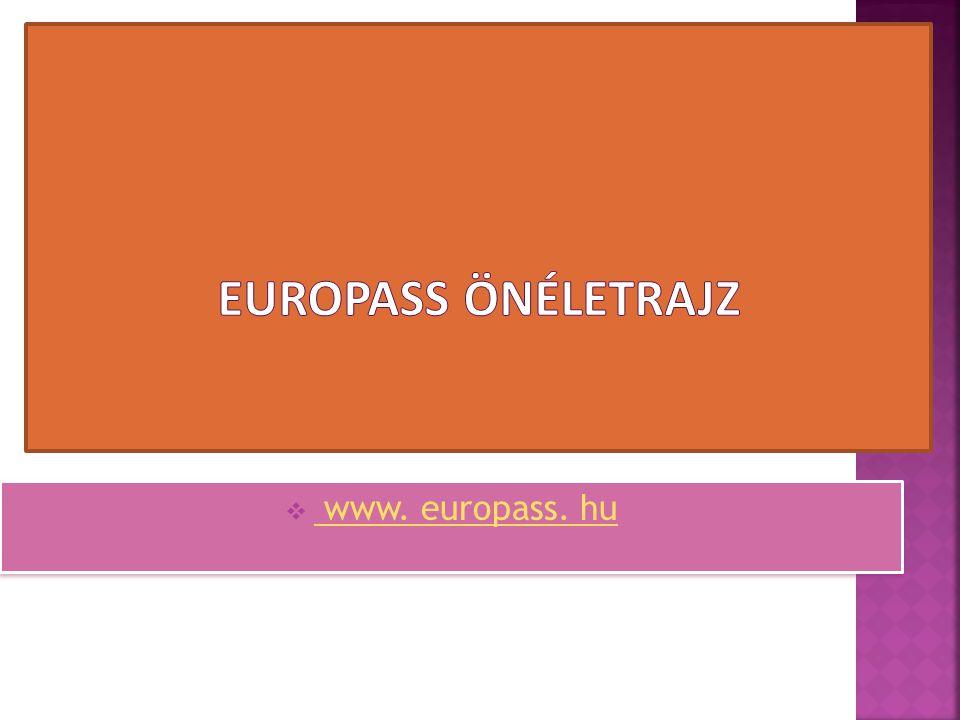 Europass önéletrajz www. europass. hu