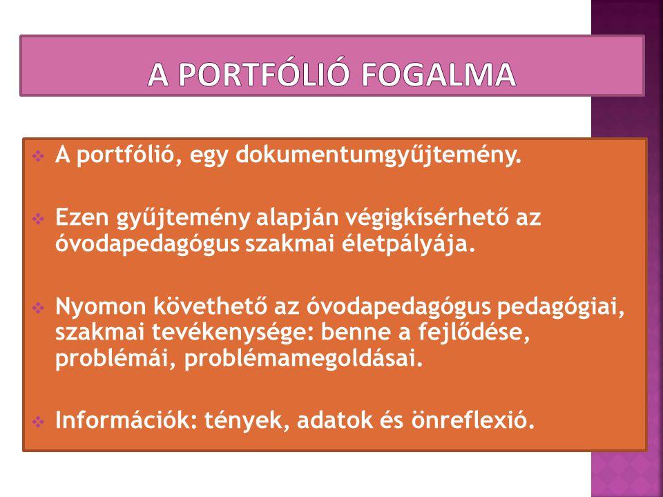 A portfólió fogalma A portfólió, egy dokumentumgyűjtemény.