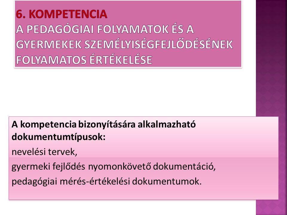 6. Kompetencia A pedagógiai folyamatok és a gyermekek személyiségfejlődésének folyamatos értékelése