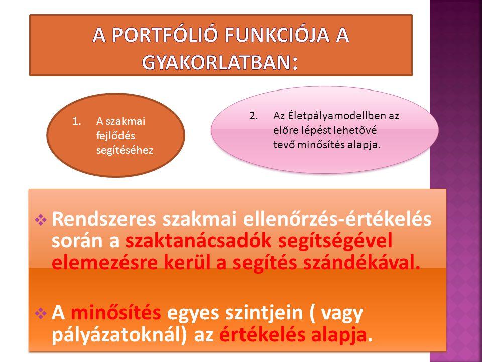 A portfólió funkciója a gyakorlatban: