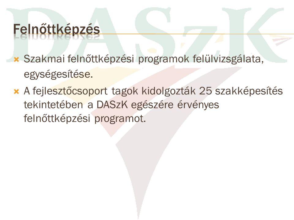 Felnőttképzés Szakmai felnőttképzési programok felülvizsgálata, egységesítése.
