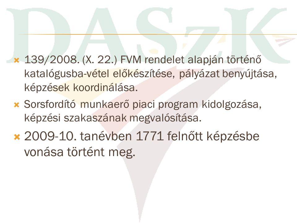2009-10. tanévben 1771 felnőtt képzésbe vonása történt meg.