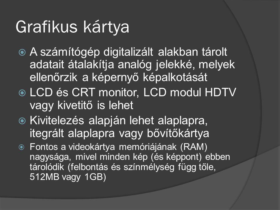 Grafikus kártya A számítógép digitalizált alakban tárolt adatait átalakítja analóg jelekké, melyek ellenőrzik a képernyő képalkotását.