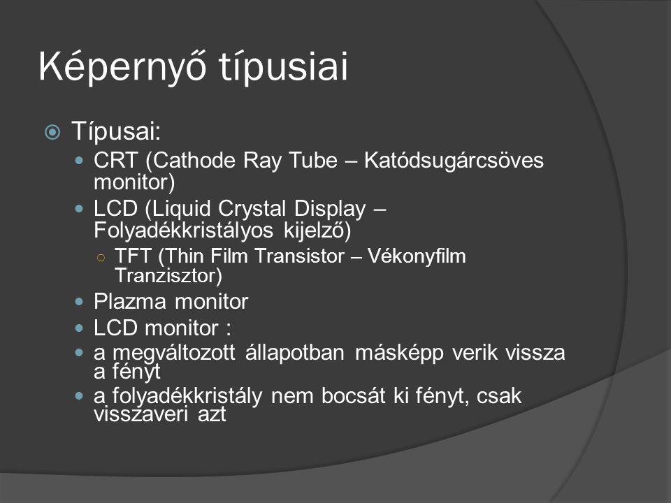 Képernyő típusiai Típusai: