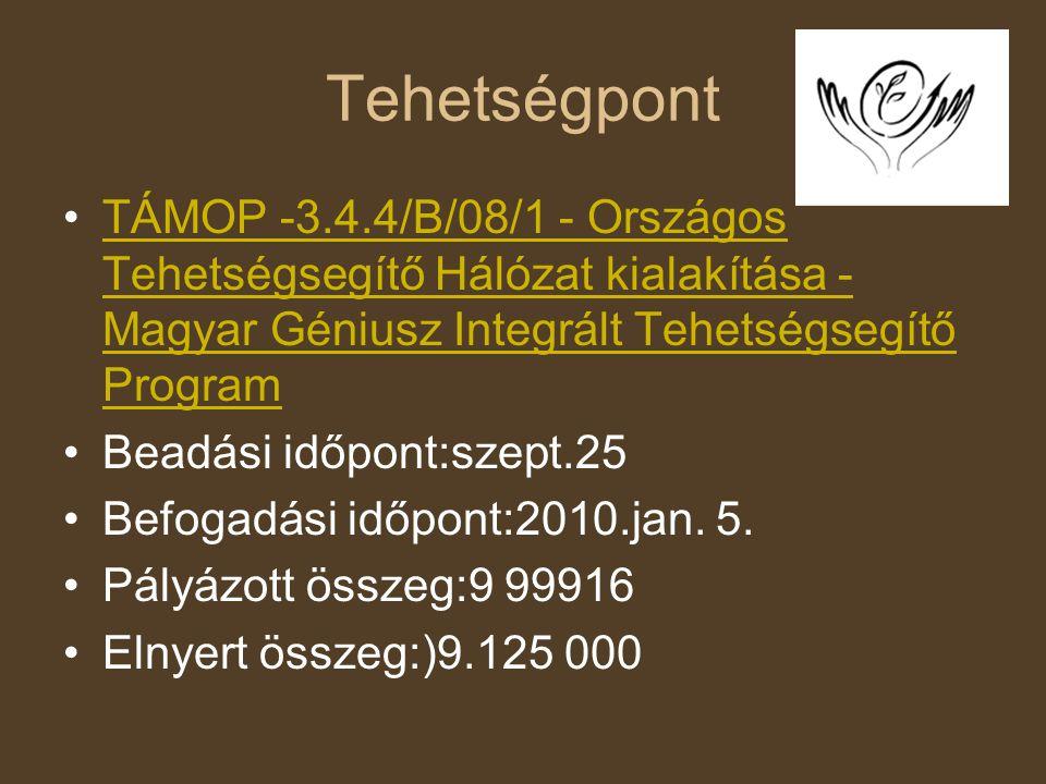 Tehetségpont TÁMOP -3.4.4/B/08/1 - Országos Tehetségsegítő Hálózat kialakítása - Magyar Géniusz Integrált Tehetségsegítő Program.