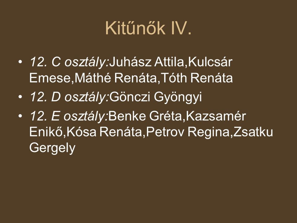 Kitűnők IV. 12. C osztály:Juhász Attila,Kulcsár Emese,Máthé Renáta,Tóth Renáta. 12. D osztály:Gönczi Gyöngyi.