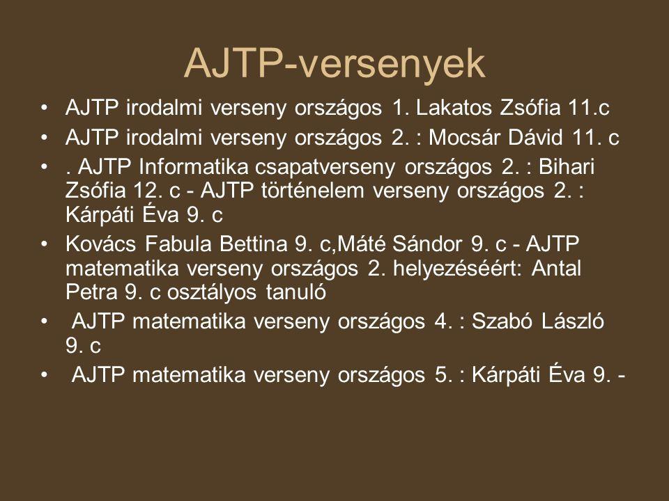 AJTP-versenyek AJTP irodalmi verseny országos 1. Lakatos Zsófia 11.c