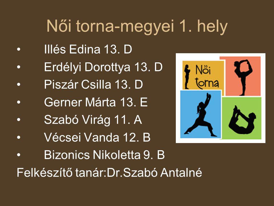 Női torna-megyei 1. hely Illés Edina 13. D Erdélyi Dorottya 13. D