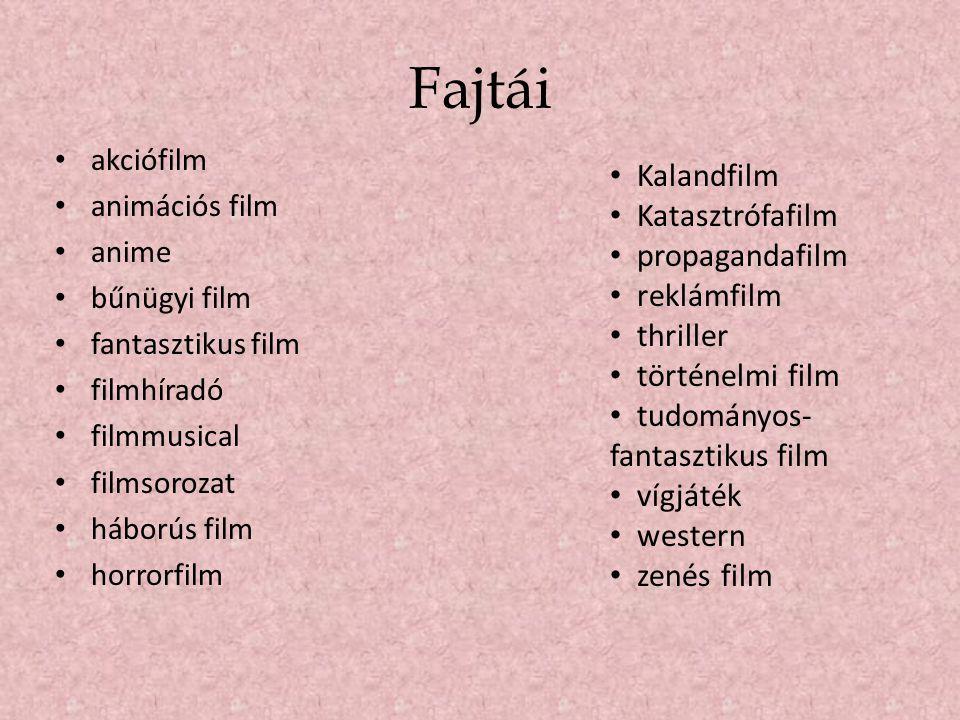Fajtái Kalandfilm Katasztrófafilm propagandafilm reklámfilm thriller