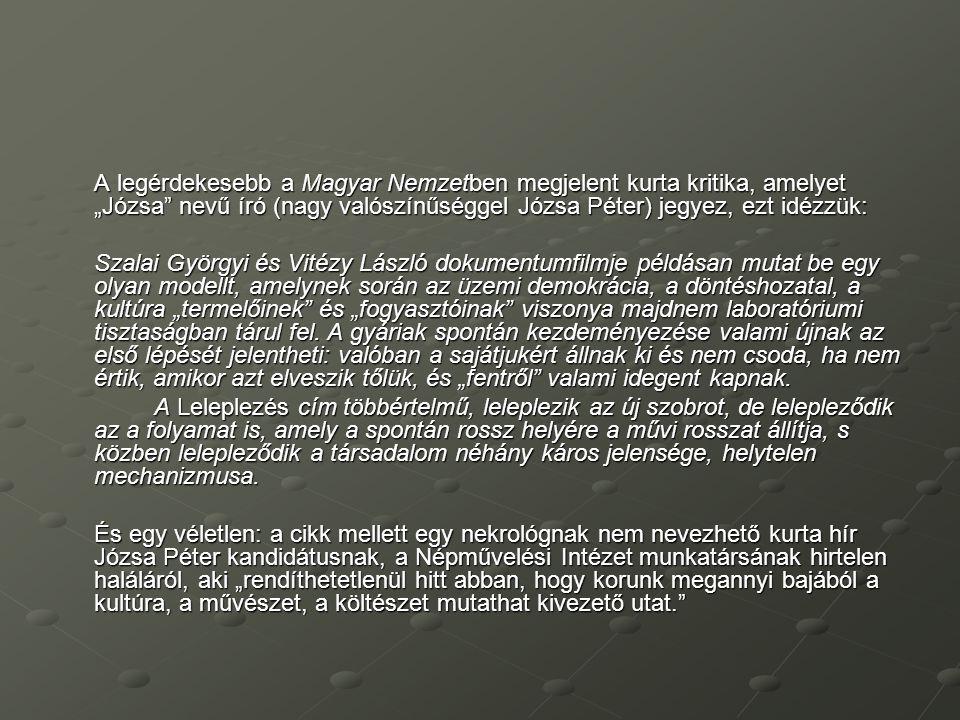 """A legérdekesebb a Magyar Nemzetben megjelent kurta kritika, amelyet """"Józsa nevű író (nagy valószínűséggel Józsa Péter) jegyez, ezt idézzük:"""