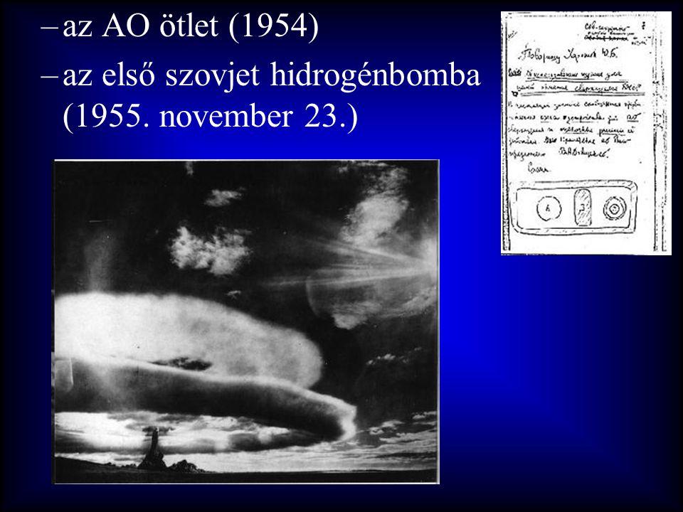 az AO ötlet (1954) az első szovjet hidrogénbomba (1955. november 23.)