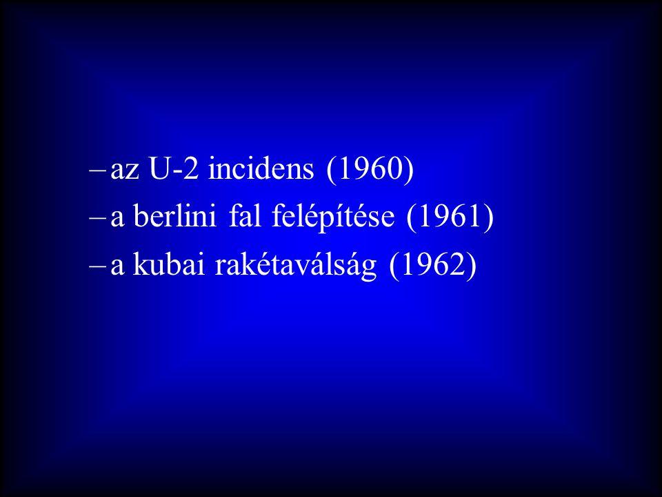 az U-2 incidens (1960) a berlini fal felépítése (1961) a kubai rakétaválság (1962)