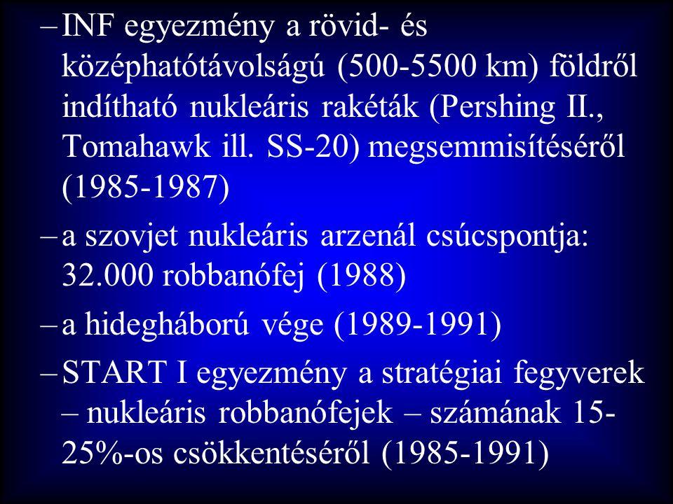 INF egyezmény a rövid- és középhatótávolságú (500-5500 km) földről indítható nukleáris rakéták (Pershing II., Tomahawk ill. SS-20) megsemmisítéséről (1985-1987)