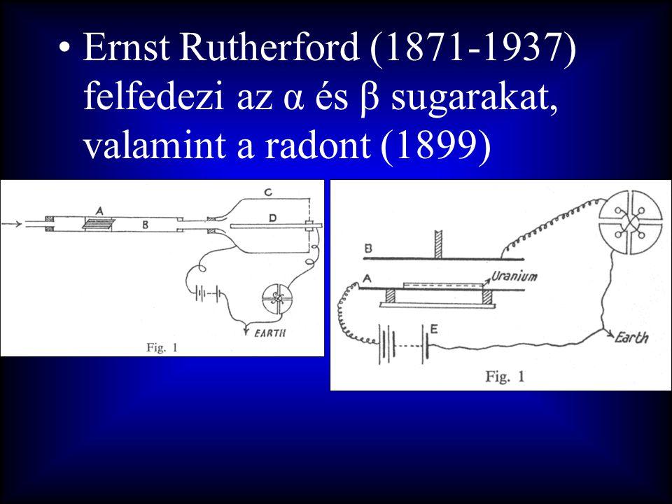 Ernst Rutherford (1871-1937) felfedezi az α és β sugarakat, valamint a radont (1899)