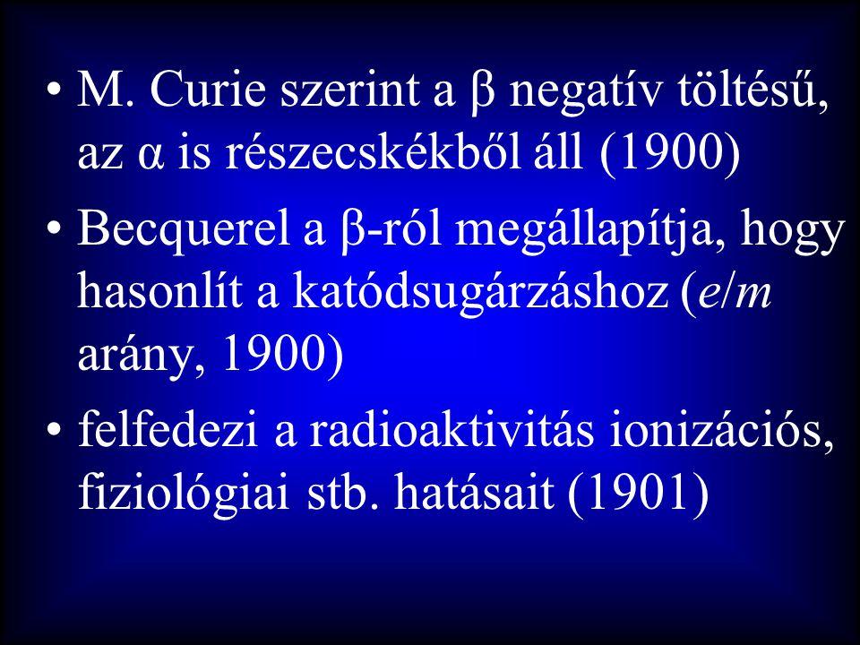 M. Curie szerint a β negatív töltésű, az α is részecskékből áll (1900)