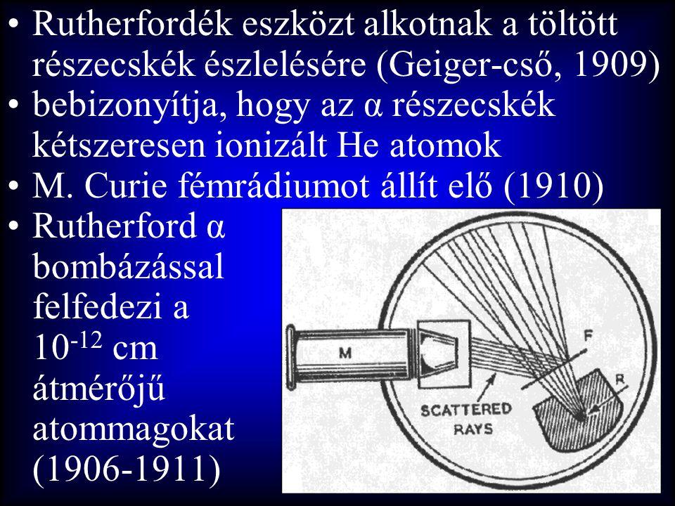 Rutherfordék eszközt alkotnak a töltött részecskék észlelésére (Geiger-cső, 1909)