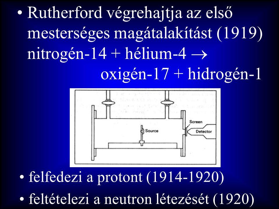 Rutherford végrehajtja az első mesterséges magátalakítást (1919) nitrogén-14 + hélium-4  oxigén-17 + hidrogén-1