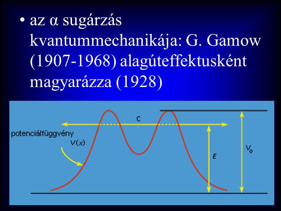 az α sugárzás kvantummechanikája: G