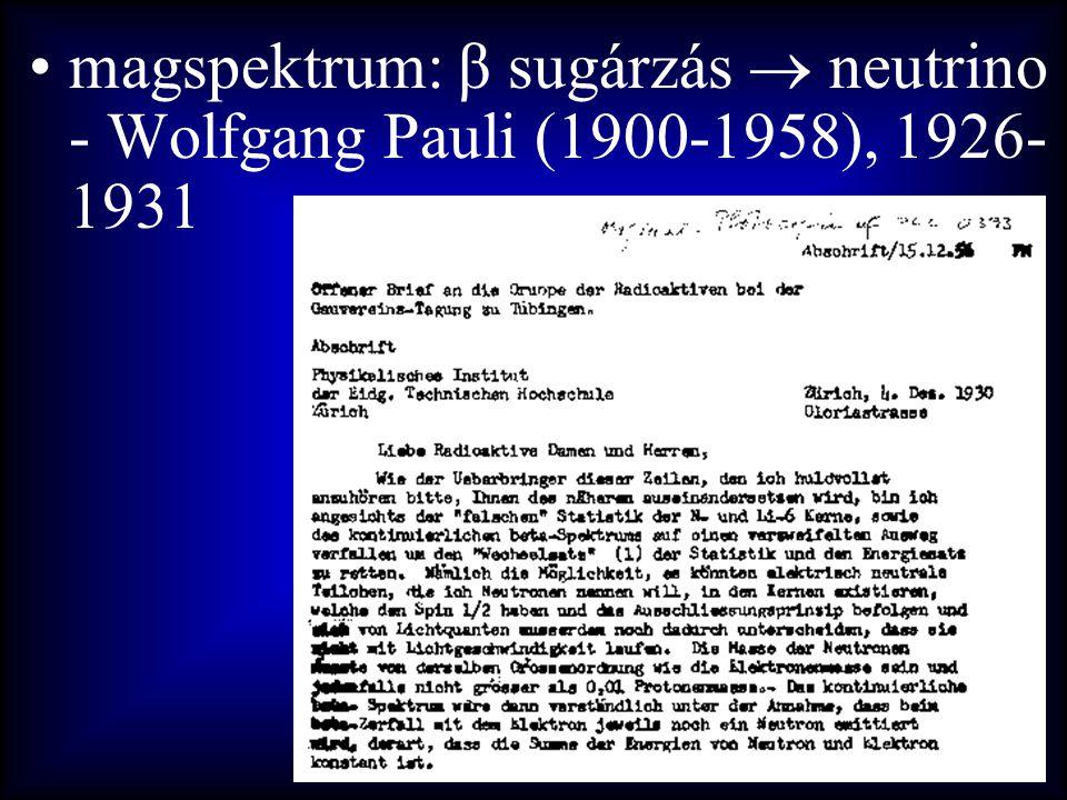 magspektrum: β sugárzás  neutrino - Wolfgang Pauli (1900-1958), 1926-1931