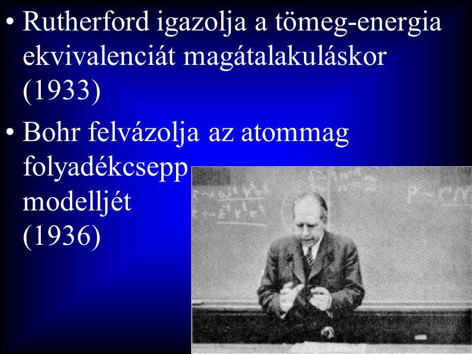 Rutherford igazolja a tömeg-energia ekvivalenciát magátalakuláskor (1933)