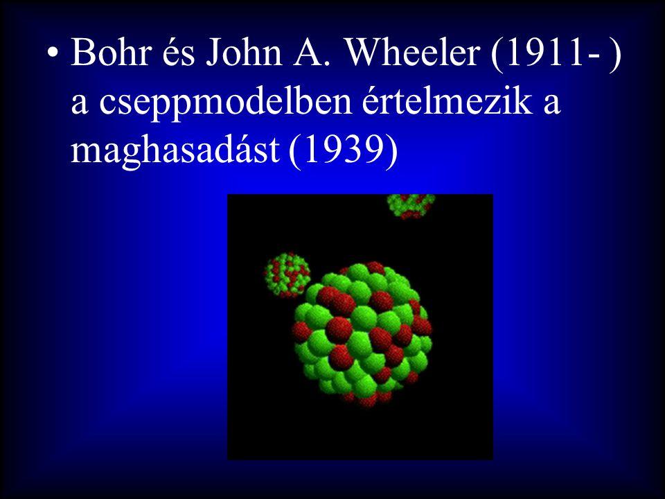 Bohr és John A. Wheeler (1911- ) a cseppmodelben értelmezik a maghasadást (1939)
