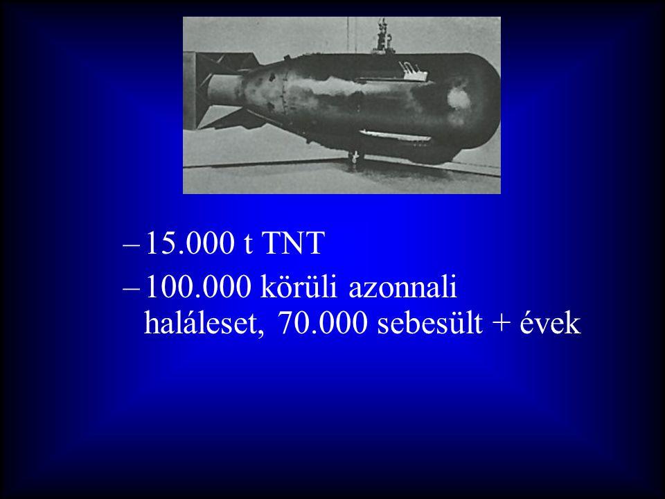 15.000 t TNT 100.000 körüli azonnali haláleset, 70.000 sebesült + évek