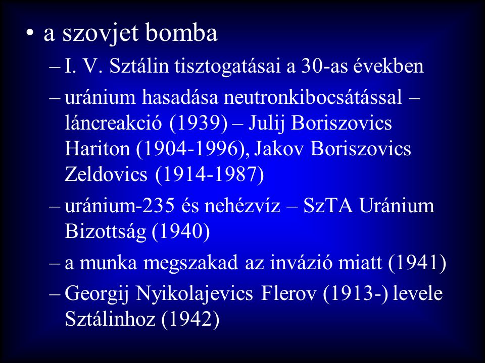 a szovjet bomba I. V. Sztálin tisztogatásai a 30-as években