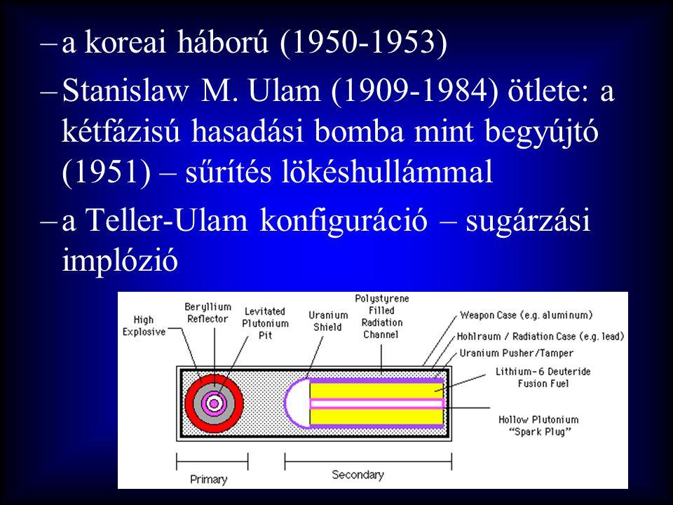 a koreai háború (1950-1953) Stanislaw M. Ulam (1909-1984) ötlete: a kétfázisú hasadási bomba mint begyújtó (1951) – sűrítés lökéshullámmal.