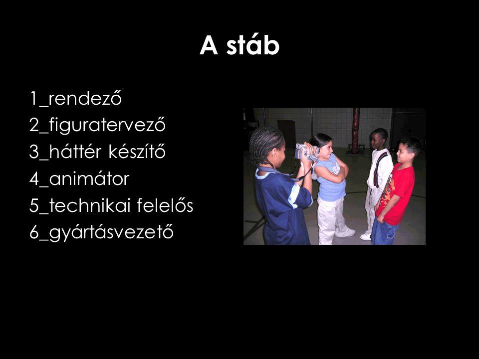 A stáb 1_rendező 2_figuratervező 3_háttér készítő 4_animátor