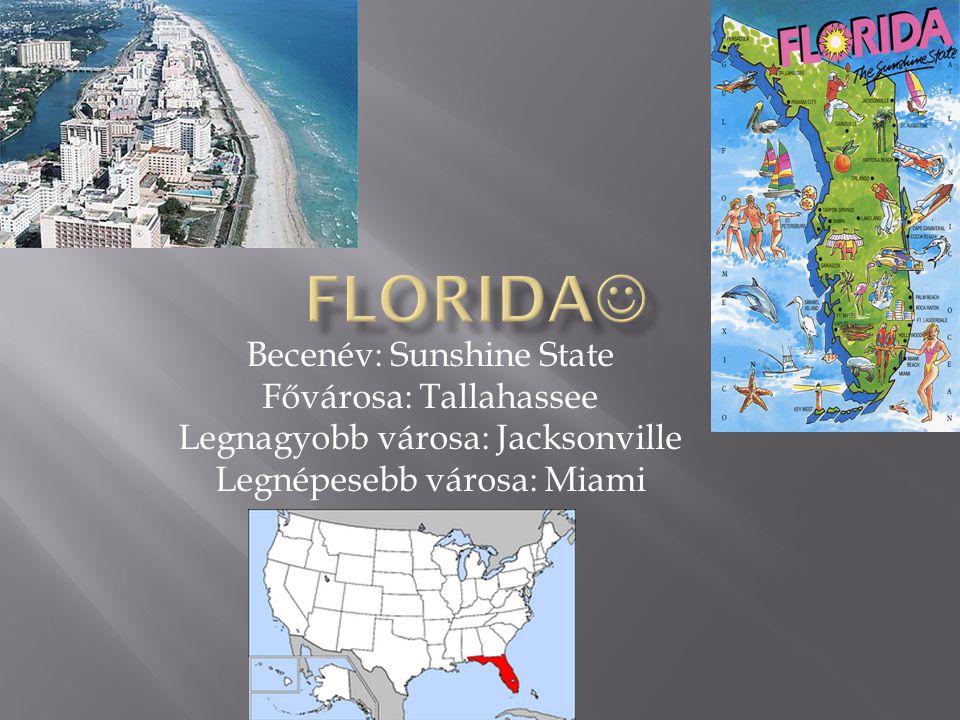 Florida Becenév: Sunshine State Fővárosa: Tallahassee