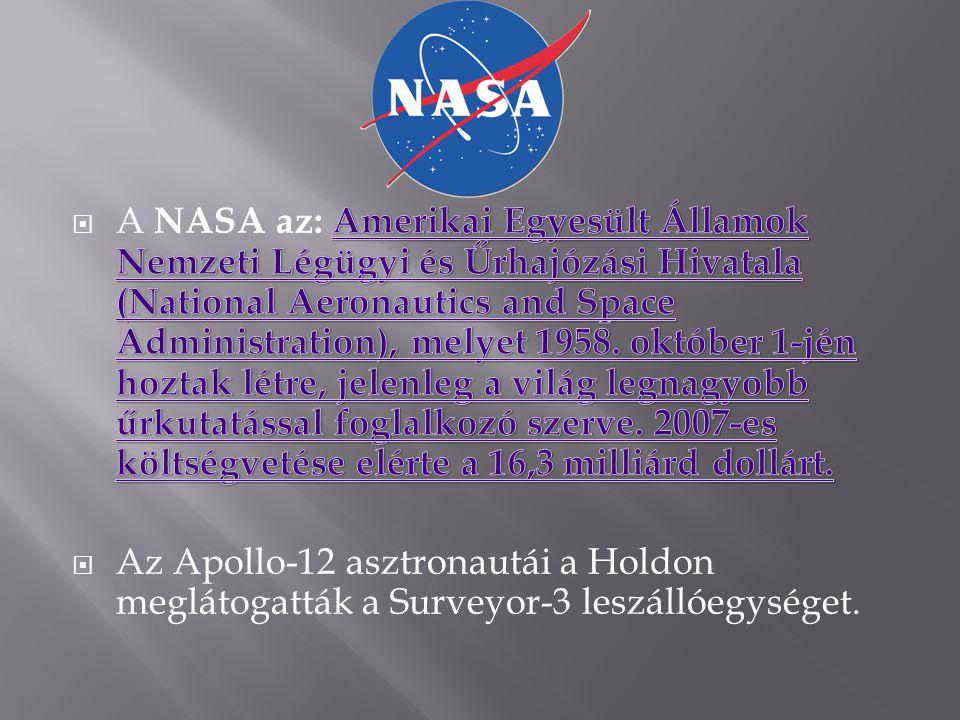 A NASA az: Amerikai Egyesült Államok Nemzeti Légügyi és Űrhajózási Hivatala (National Aeronautics and Space Administration), melyet 1958. október 1-jén hoztak létre, jelenleg a világ legnagyobb űrkutatással foglalkozó szerve. 2007-es költségvetése elérte a 16,3 milliárd dollárt.