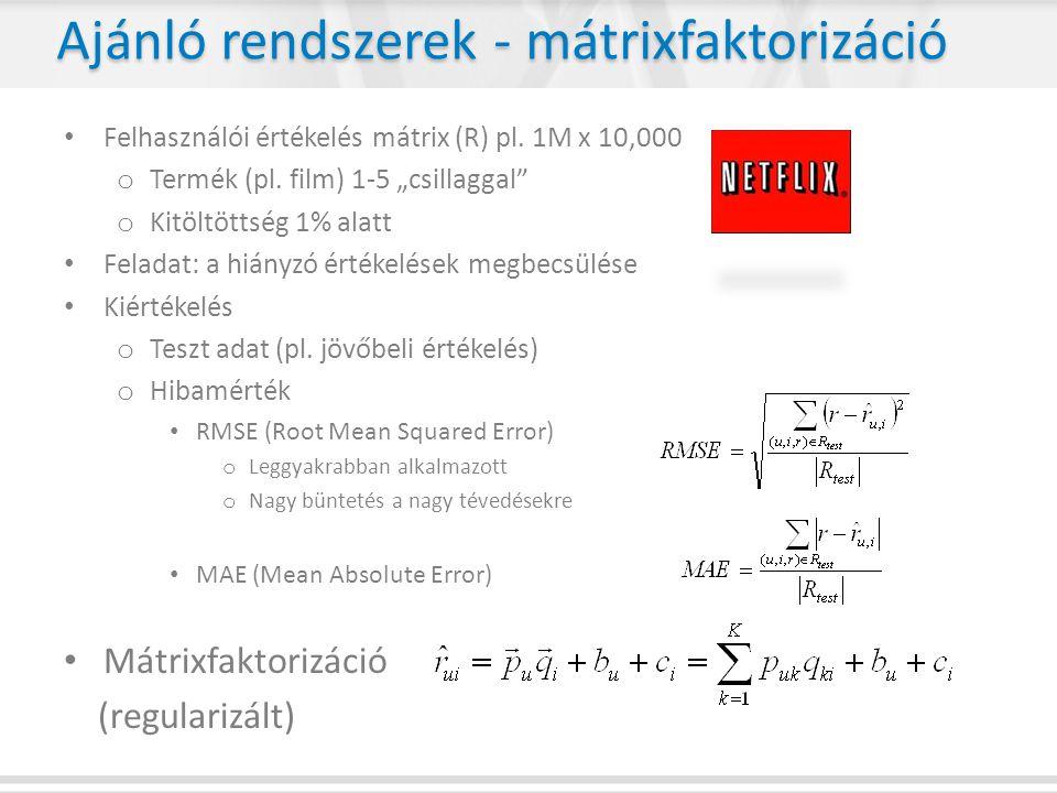 Ajánló rendszerek - mátrixfaktorizáció