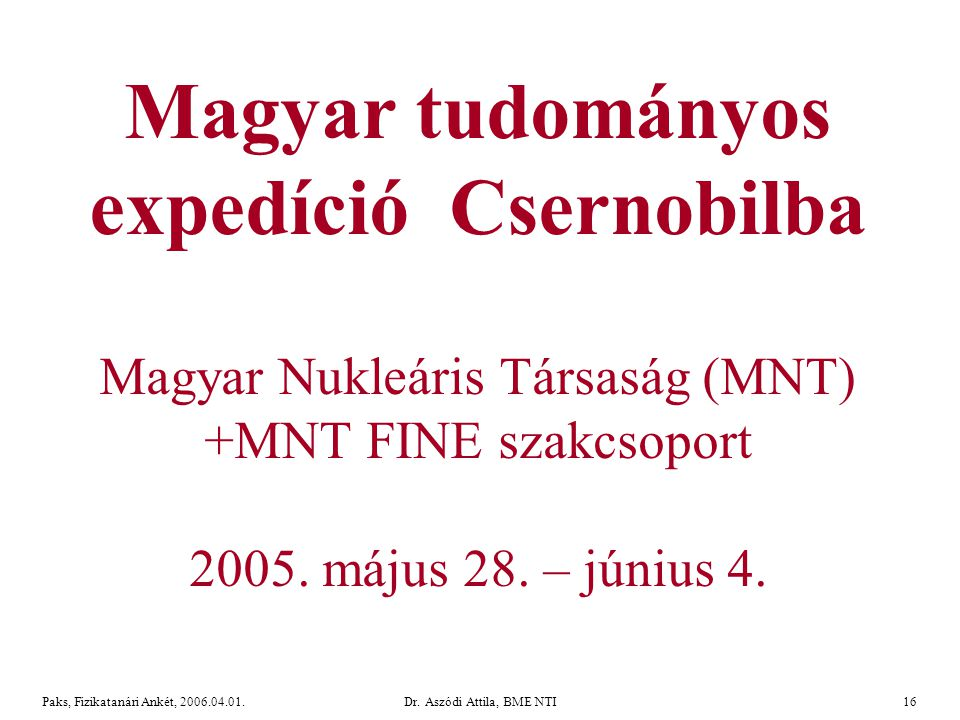 Dr. Aszódi Attila, BME NTI