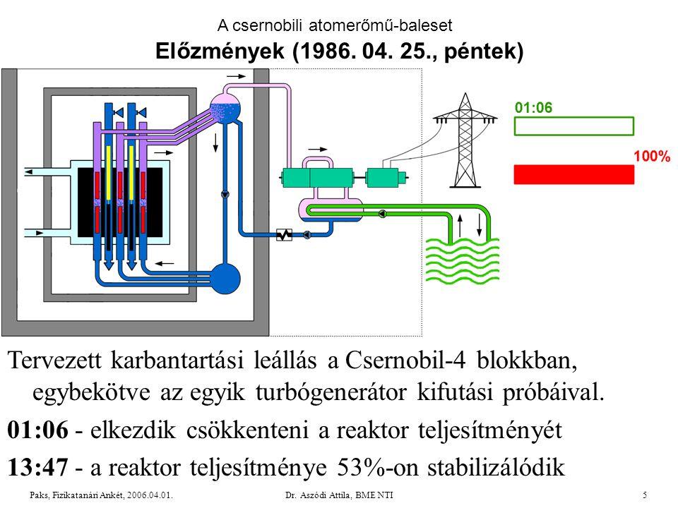 01:06 - elkezdik csökkenteni a reaktor teljesítményét