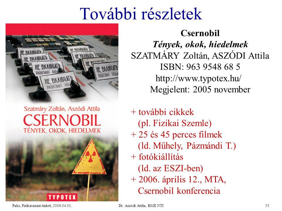 További részletek Csernobil Tények, okok, hiedelmek SZATMÁRY Zoltán, ASZÓDI Attila. ISBN: 963 9548 68 5 http://www.typotex.hu/