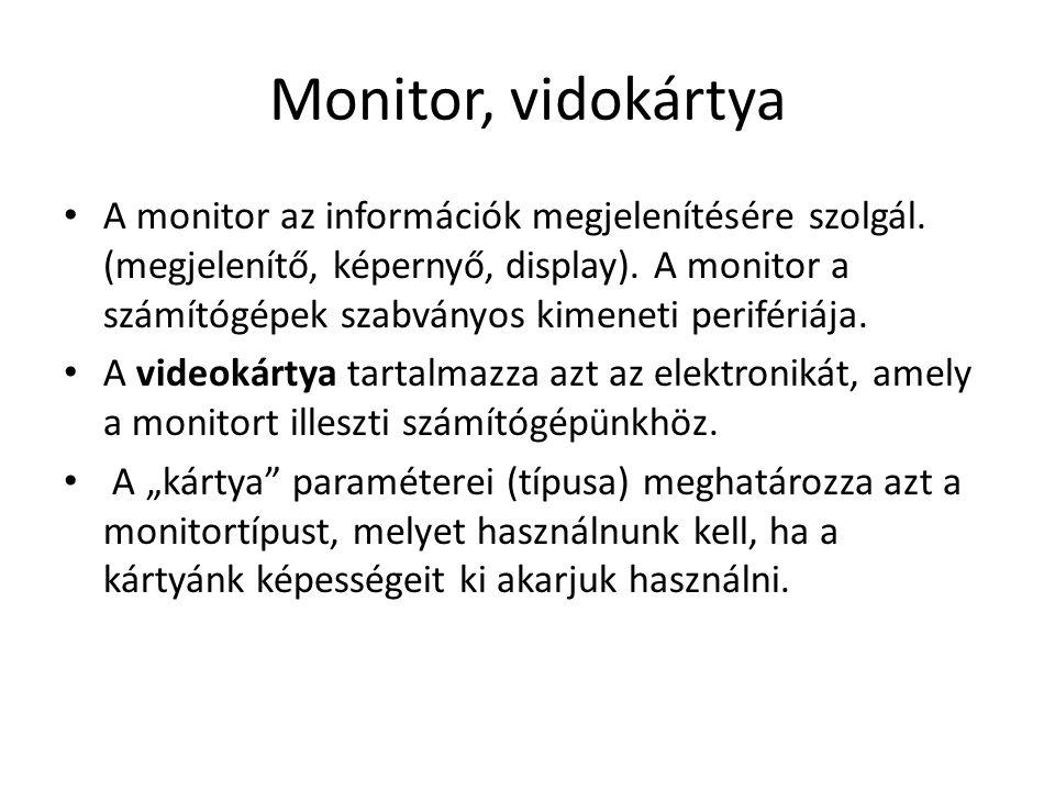 Monitor, vidokártya