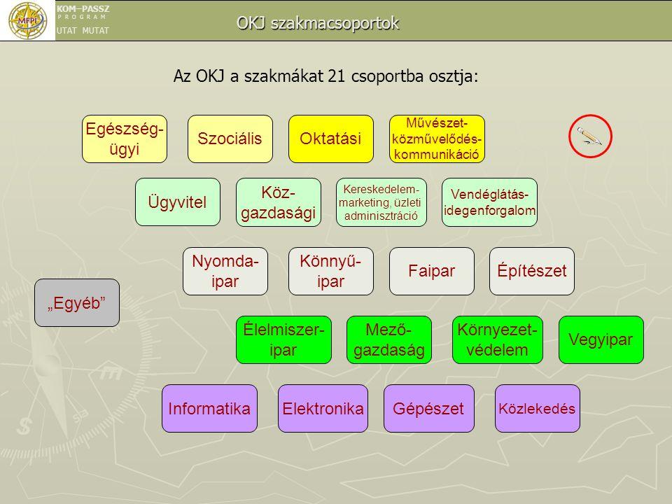 Az OKJ a szakmákat 21 csoportba osztja: