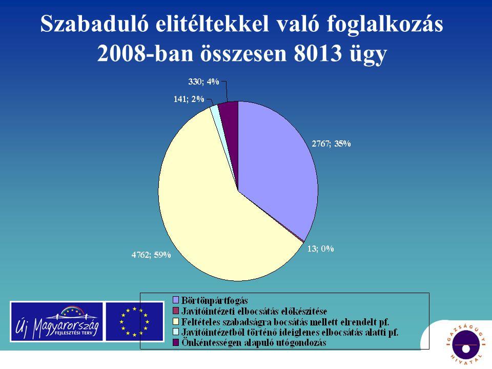 Szabaduló elitéltekkel való foglalkozás 2008-ban összesen 8013 ügy