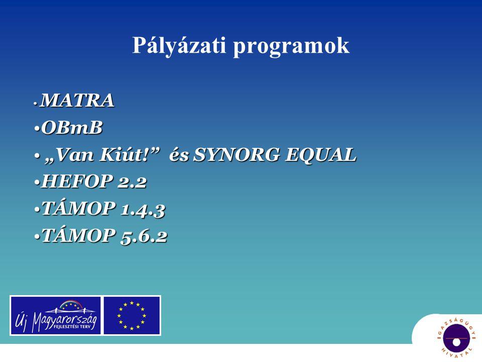 """Pályázati programok OBmB """"Van Kiút! és SYNORG EQUAL HEFOP 2.2"""
