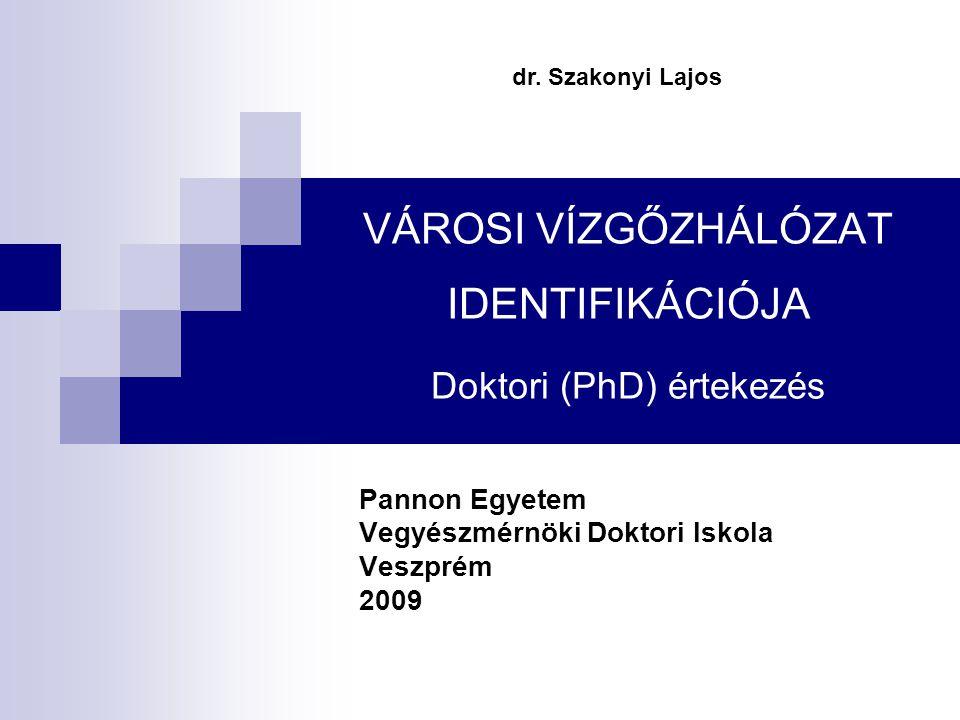 VÁROSI VÍZGŐZHÁLÓZAT IDENTIFIKÁCIÓJA Doktori (PhD) értekezés