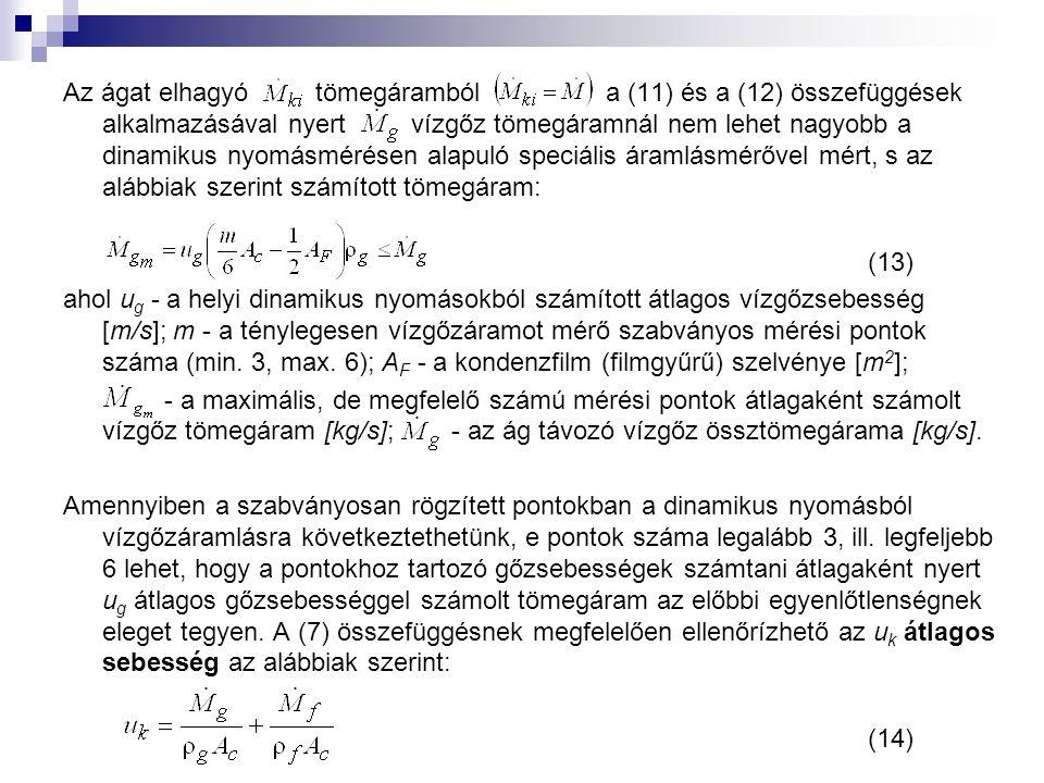 Az ágat elhagyó tömegáramból a (11) és a (12) összefüggések alkalmazásával nyert vízgőz tömegáramnál nem lehet nagyobb a dinamikus nyomásmérésen alapuló speciális áramlásmérővel mért, s az alábbiak szerint számított tömegáram: