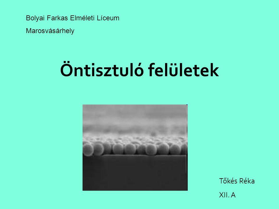 Öntisztuló felületek Tőkés Réka XII. A Bolyai Farkas Elméleti Líceum