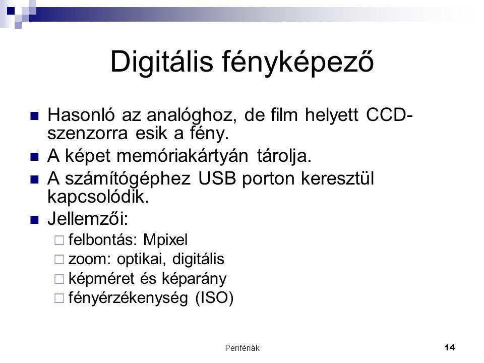 Digitális fényképező Hasonló az analóghoz, de film helyett CCD-szenzorra esik a fény. A képet memóriakártyán tárolja.