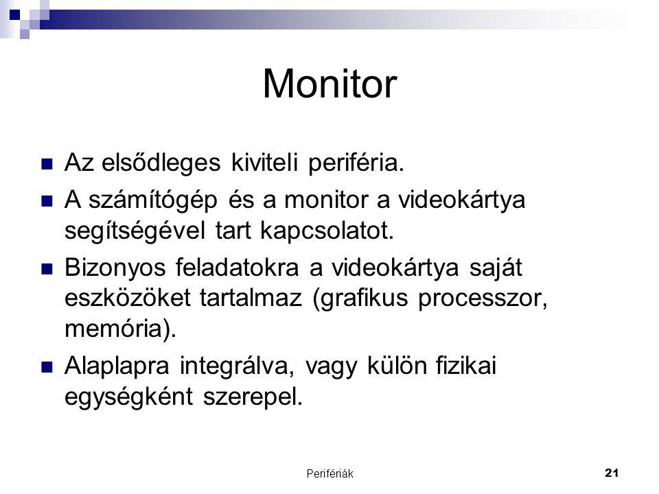 Monitor Az elsődleges kiviteli periféria.