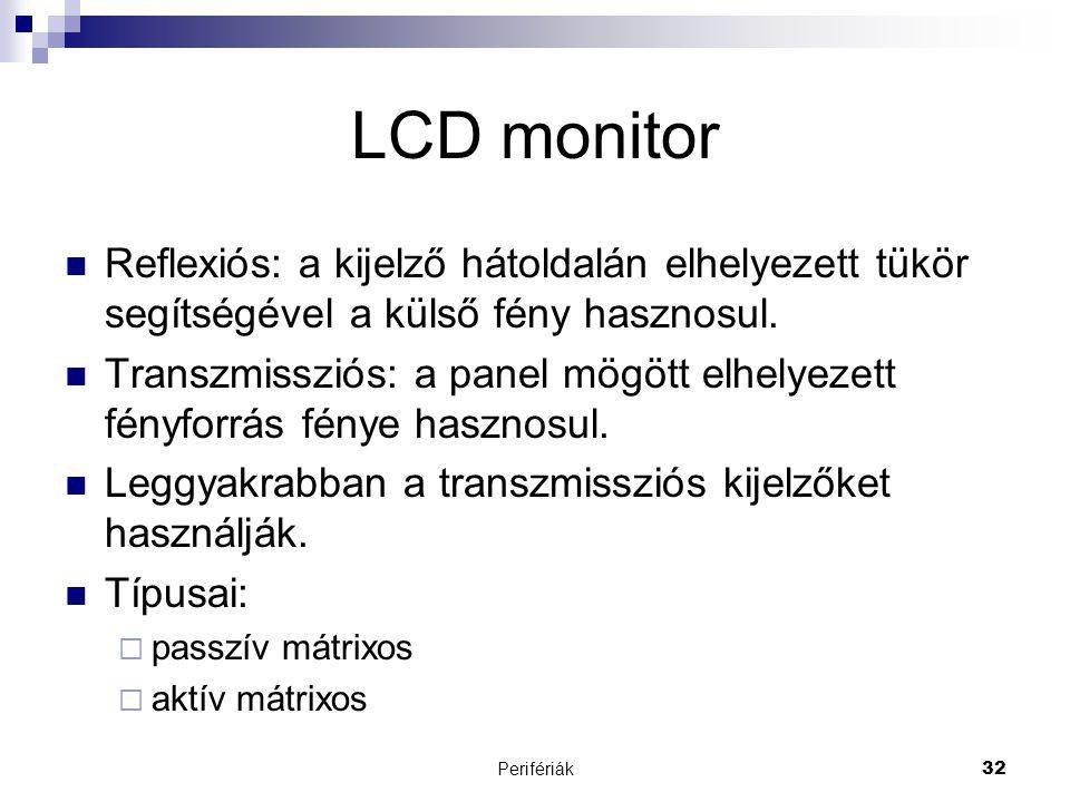 LCD monitor Reflexiós: a kijelző hátoldalán elhelyezett tükör segítségével a külső fény hasznosul.