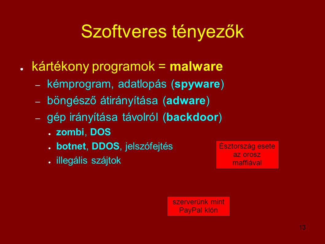 Szoftveres tényezők kártékony programok = malware