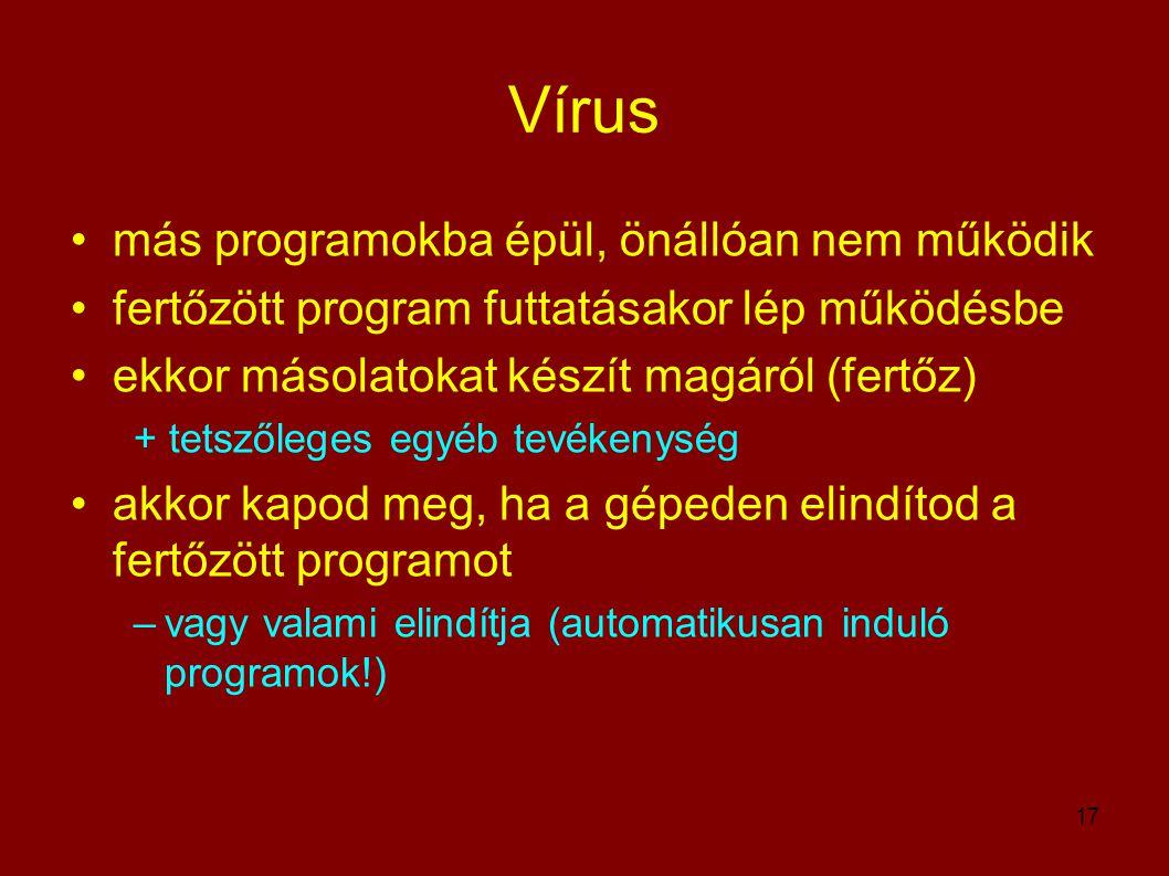 Vírus más programokba épül, önállóan nem működik