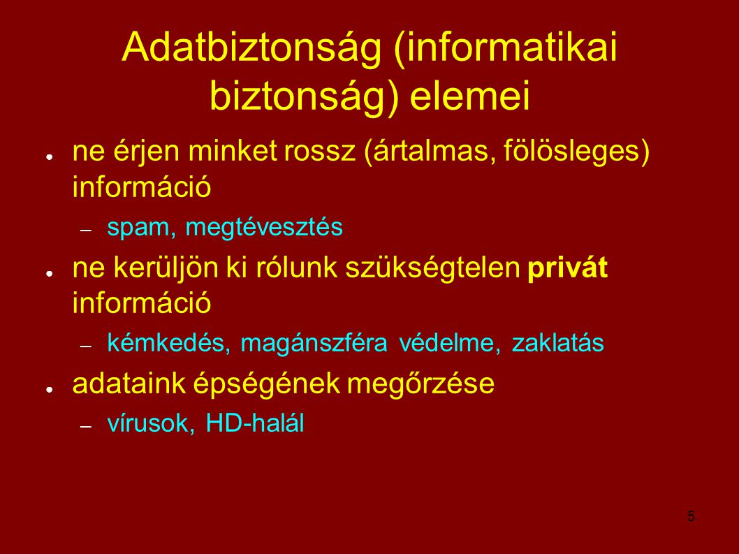 Adatbiztonság (informatikai biztonság) elemei