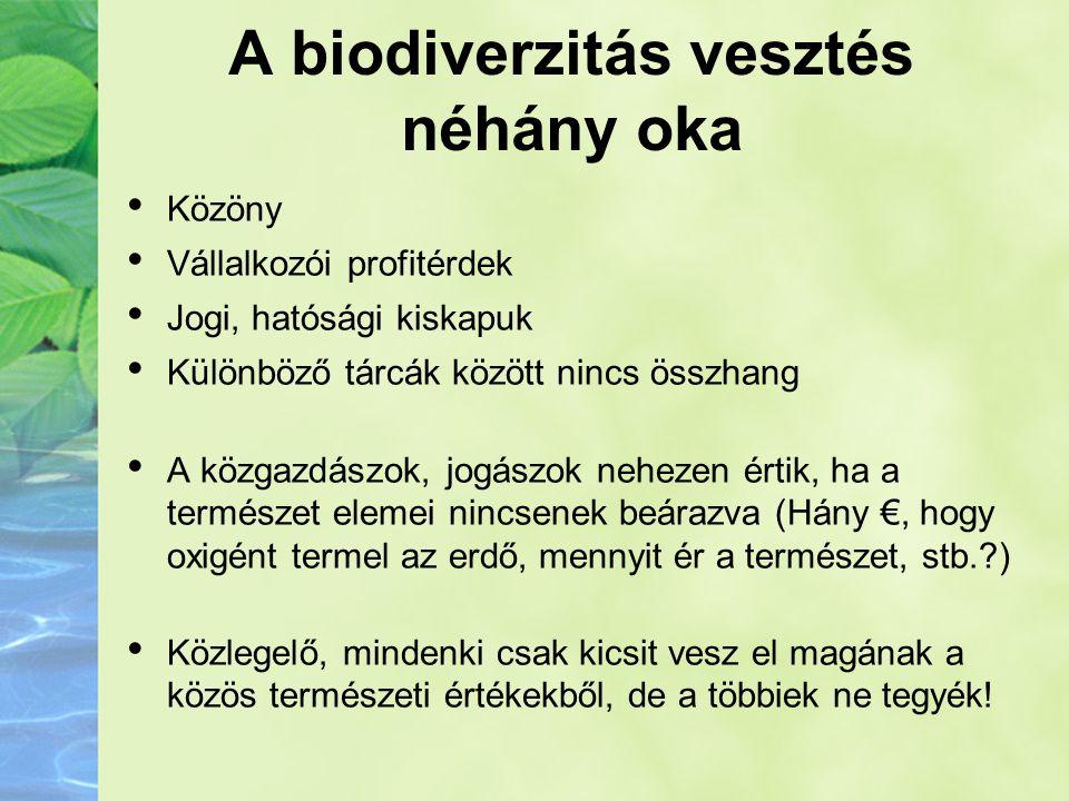 A biodiverzitás vesztés néhány oka