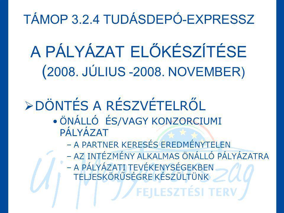 TÁMOP 3. 2. 4 TUDÁSDEPÓ-EXPRESSZ A PÁLYÁZAT ELŐKÉSZÍTÉSE (2008
